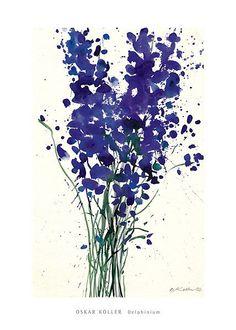 Delphinium Art Print by Oskar Koller at Barewalls.com