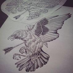 Crow Tattoo For Men, Crow Tattoos, Phoenix Tattoos, Body Art Tattoos, Ear Tattoos, Japan Tattoo Design, Tattoo Design Drawings, Tattoo Sketches, Elephant Tattoos