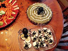 Spider web guacamole and Deviled spider eggs