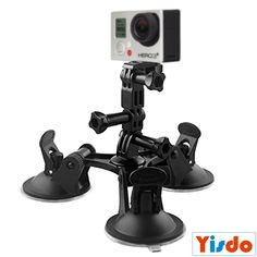 Foldable Triangle Strong Mount Holder for Gopro Camera Series Sucker Bracket Strong Car Triangular Sucker Adapter Fixed for Surfboard Table Car Glass Car Monitor ** Continue with the details at the image link.