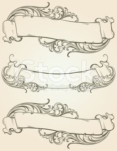 Designed by a hand engraver. Vintage banner set with highly detailed . - Old Vintage Banners Royalty free old vintage banners stock vector art & more images from - Vintage Banner, Tattoo Plume, Baroque Frame, Letras Tattoo, Graffiti, Schrift Tattoos, Banners, Wow Art, Calligraphy Art