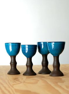 Handmade Ceramic Goblets - Wine Goblets - Ceramic Cups - Wheel Thrown Pottery - Turquoise - Wine Glasses - Great Fathers Day Gift