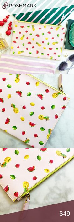 """J. Crew Pale Pink Leather Fruit Print Pouch/Clutch Details: • Pink Leather with all over fruit print  • Neon trim along zipper • Card slots on interior wall • 7 3/8"""" x 11"""" • NWT J. Crew Bags Clutches & Wristlets"""