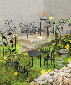 Love this Miniature Fairy Garden Metal Furniture Set on #zulily! #zulilyfinds
