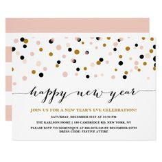 pink and copper confetti dots new years eve party card party invitations new years eve