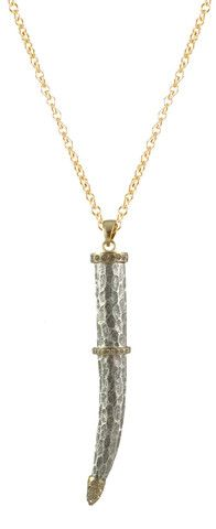 VS Kenitra horn necklace with gold detail and BD crystals – Tat2 Designs