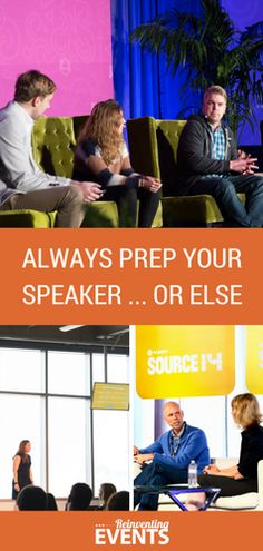 http://reinventingevents.com/2015/09/speaker-prep/?utm_campaign=coschedule&utm_source=pinterest&utm_medium=Reinventing%20Events&utm_content=Always%20Prep%20Your%20Speakers...Or%20Else In order to achieve event or conference success, you must prep your speakers before they go on stage. This is a crucial tip for event planners to ensure the sessions run smoothly and the content is best for the audience. Check out our blog 'Always Prep Your Speakers...Or Else' then repin to save…