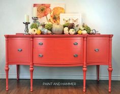 Painted Buffet by Paint and Hammer Coral Painted Furniture, Orange Furniture, Kitchen Furniture, Furniture Design, Coral Wallpaper, Coral Walls, Painted Buffet, Live Coral, Coral Pink