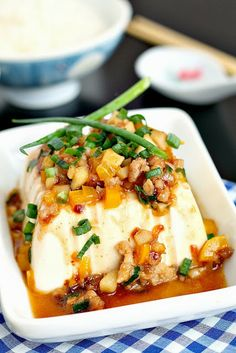 steamed tofu with minced pork sauce