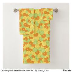 Citrus Splash Seamless Surface Pattern Design Bath Towel Set Bath Towel Sets, Bath Design, Artwork Design, Surface Pattern Design, Hand Towels, Print Design, Create Your Own, Prints, Things To Sell