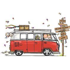 Trouwkaart VW bus rood - AV, verkrijgbaar bij #kaartje2go voor €1,79