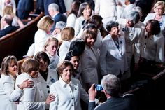 Democrats wearing all white for President Donald Trump's address to a joint session of Congress, February 28, 2017. By Bill Clark/CQ Roll Call.