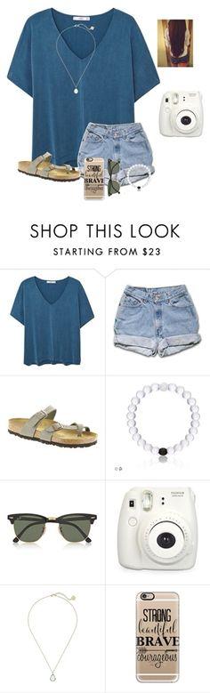 Teal t-shirt, denim shorts, grey Birkenstock sandals, white beaded bracelet