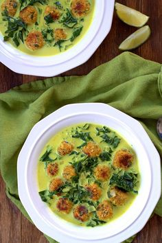 Coconut Curry Kale and Chickpea Ball Soup