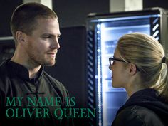 """Arrow -- """"My Name is Oliver Queen"""" -- Image -- Pictured (L-R): Stephen Amell as Oliver Queen and Emily Bett Rickards as Felicity Smoak -- Photo: Liane Hentscher/The CW -- © 2015 The CW Network, LLC. All Rights Reserved. Arrow Cw, Arrow Oliver, Team Arrow, Arrow Season 3, Oliver Queen Felicity Smoak, Arrow Felicity, David Ramsey, Arrow Tv Series, Al Ghul"""