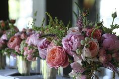 Bridal and maid's bouquets in peonies, garden rose, sweet pea, herbs and grasses www.picodesign.com