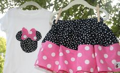 Disney Minnie Mickey Mouse outfit, twirl skirt & shirt,