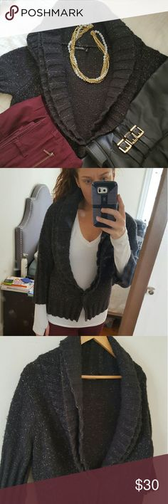 Charcoal Sweater Three-quarter sleeve sweater in dark grey/charcoal one button snap in front Daisy Fuentes Sweaters