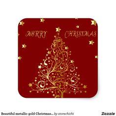 Beautiful metallic gold Christmas tree on dark red