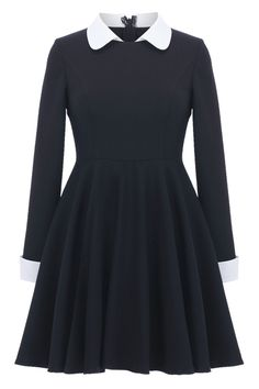 """Black Long Sleeves Dress $59.99  idk I just love this dress because it reminds me of Wednesday Addams and the fact the the """"Peter Pan"""" collars are in this year just makes me want it more..."""