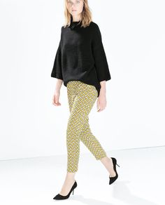 ZARA - SALE - GEOMETRIC PATTERNED TROUSERS WITH COMBINATION WAISTBAND