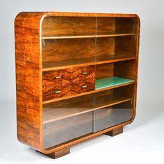 Knihovna J-107 - Jindřich Halabala Art Deco Furniture, Funky Furniture, Sideboard Cabinet, Police, Bookcase, Retro, House Design, Shelves, Wood