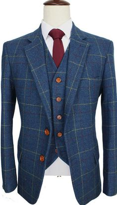 Blue Windowpane Tweed Suit