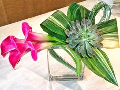 Tropical floral design for a local restaurant. Glass Vase, Floral Design, Tropical, Restaurant, Home Decor, Decoration Home, Room Decor, Floral Patterns, Diner Restaurant