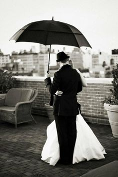 black and white with umbrella