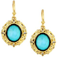 Armenta 18k Turquoise & Moonstone Doublet Drop Earrings w/ Diamonds ($1,347) ❤ liked on Polyvore featuring jewelry, earrings, no color, black and white diamond earrings, turquoise earrings, 18k earrings, diamond earrings and blue earrings