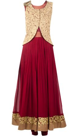 Maroon anarkali with gold jacket. available only at Pernia's Pop-Up Shop.