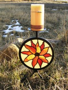 Glass Sunflower Candle Holder by by GreenhouseGlassworks on Etsy,