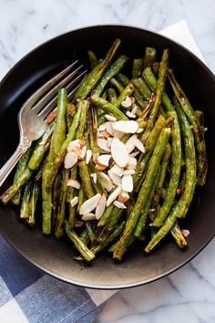 Harissa Roasted Green Beans are a quick, easy & flavorful side dish! | TheCornerKitchenBlog.com #harissa #vegetables #sidedish