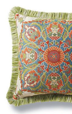 Madras Bliss Outdoor Pillow with Fringe.
