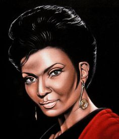 From The Enterprise: The Venerable Lieutenant - Nyota Uhura, of the Sci-fi TV series 'Star Trek', was beautiful actress Nichelle Nichols, now from Robbins Illinois. Nichelle Nichols, Velvet Painting, Star Trek 1, Star Trek Images, Beautiful Sketches, Black Art, Black Velvet, Illustrations Posters, Science Fiction