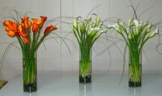 Orange & White Calla Centrepieces  http://www.greenscapedecor.com/galleries/rentals/weddings/assorted-fresh-floral-centrepieces/