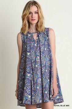 Umgee Royal Blue/Peach Swing Trapeze Sleeveless Dress