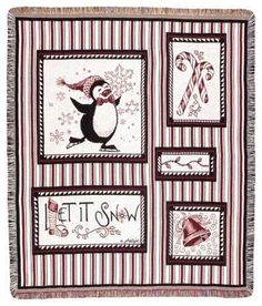Snow Penguins Christmas Tapestry Throw