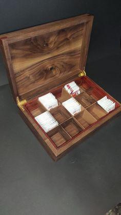 Walnut Tea BoxHandmade Tea Boxstorage tea box Chest Tea Bag   Etsy Coffee Table Upcycle, Wooden Tea Box, Tea Varieties, Magnetic Knife Holder, Box Storage, Tea Caddy, Personalised Box, Box With Lid, Wood Boxes