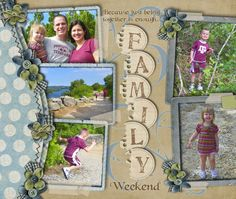 Love this layout with the F-A-M-I-L-Y seperated out. { digi scrapbooking }