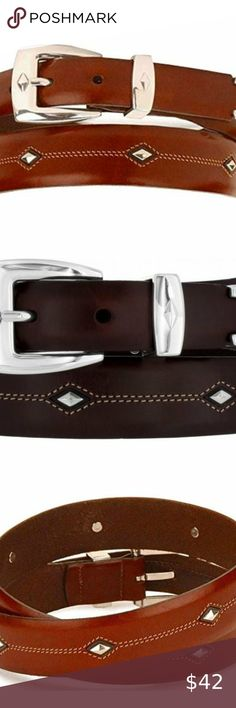 "1.5/"" Men/'s Western Leather Belt Design Tejido Black//Brown"