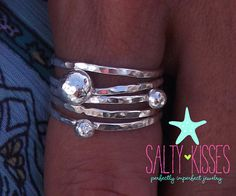 The solar system ring - sterling silver polka dot universe orbit pebbles jewelry - stacking ring set of 5 on Etsy, $59.00