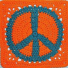 Crochet Peace Square Tutorial/ like this it is the death rune, turned over in the correct position it is the protection rune-Algiz