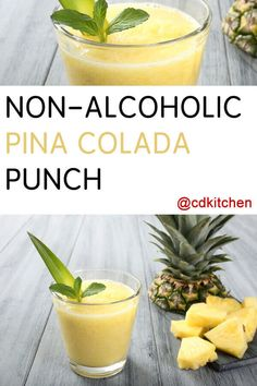 Made with pineapple-coconut juice, lemon-lime carbonated beverage, pineapple rings with juice Pina Colada Recipe Non Alcoholic, Alcoholic Punch Recipes, Drinks Alcohol Recipes, Alcoholic Drinks, Pina Colada Mocktail, Non Alcoholic Margarita, Pineapple Drinks, Pineapple Punch, Pineapple Coconut