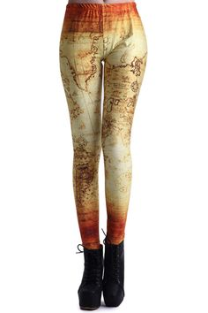 ROMWE   Ancient World Map Print Leggings, The Latest Street Fashion