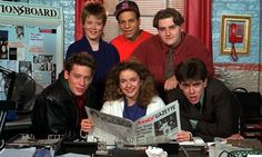 The cast of Press Gang, including Dexter Fletcher and Julia Sawalha