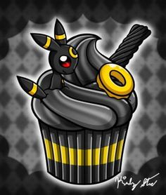 yay, the next eeveelution cupcake ^w^ I got it done pretty fast this time this time it's an umbreon in a bitter dark chocolate cupcake with black licorice and a yellow lifesaver as garnish and y. Umbreon And Espeon, Pokemon Eeveelutions, Eevee Evolutions, Charizard, Pokemon Comics, Cute Pokemon, Cute Pikachu, Nerd Herd, Pokemon Cosplay