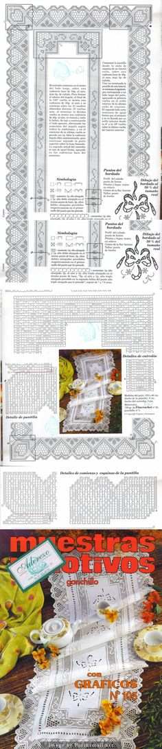 Filet crochet lace edging & insertion, hearts and half stars ~~