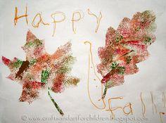 Sponge-painted Leaf craft for kids