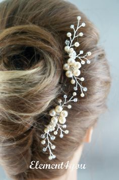 Bridal comb Wedding hair comb Set of 2 Ivory pearls by Element4you, $40.00